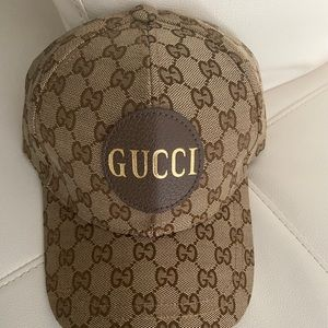 Authentic Gucci GG canvas baseball hat brown
